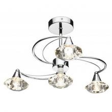 An image of a Luther 4 Light Semi Flush Ceiling Light complete with Crystal Glass Polished Chrome