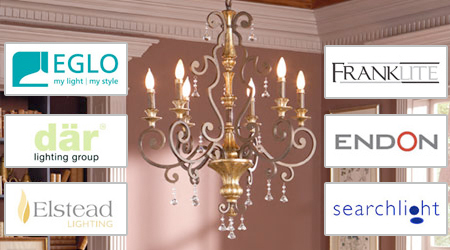We supply lighting products from all the major brands Dar, Eglo, Elstead, Endon, Franklite and searchlite